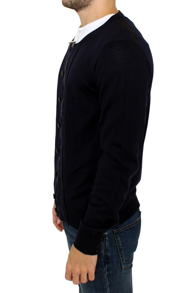 Karl Lagerfeld-Blue full zip cardigan sweater-Luxuryce