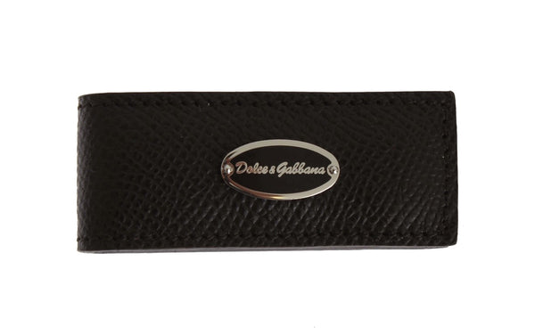 Dolce & Gabbana-Brown Leather Magnet Money Clip-Luxuryce