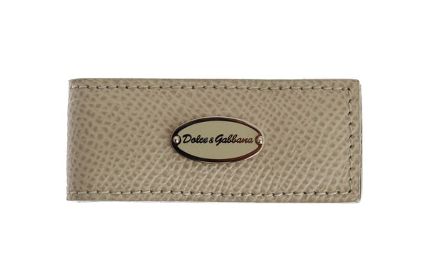 Dolce & Gabbana-Beige Leather Magnet Money Clip-Luxuryce