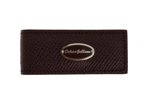 Dolce & Gabbana-Bordeaux Leather Magnet Money Clip-Luxuryce