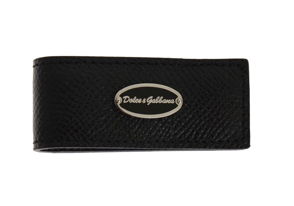 Dolce & Gabbana-Black Leather Magnet Money Clip-Luxuryce