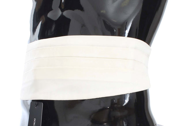 Dolce & Gabbana-White Wide Belt Silk Cummerbund-Luxuryce