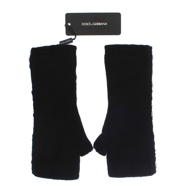 Dolce & Gabbana-Black Cashmere Crystal Finger Less Gloves-Luxuryce