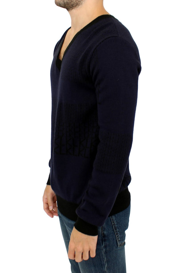 Karl Lagerfeld-Blue v-neck pullover sweater-Luxuryce