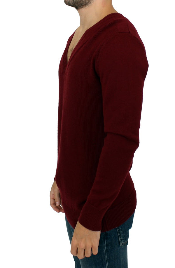 Karl Lagerfeld-Bordeaux v-neck pullover sweater-Luxuryce