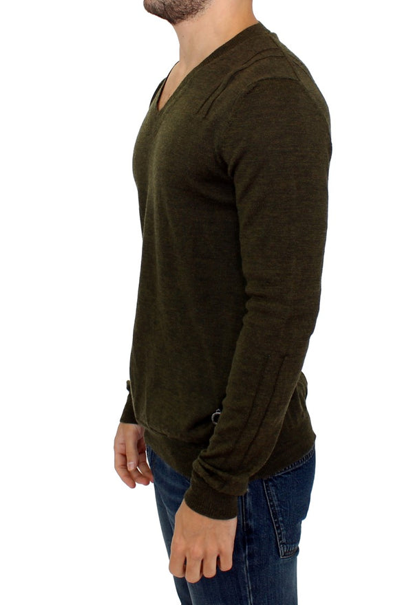 Karl Lagerfeld-Green v-neck pullover sweater-Luxuryce