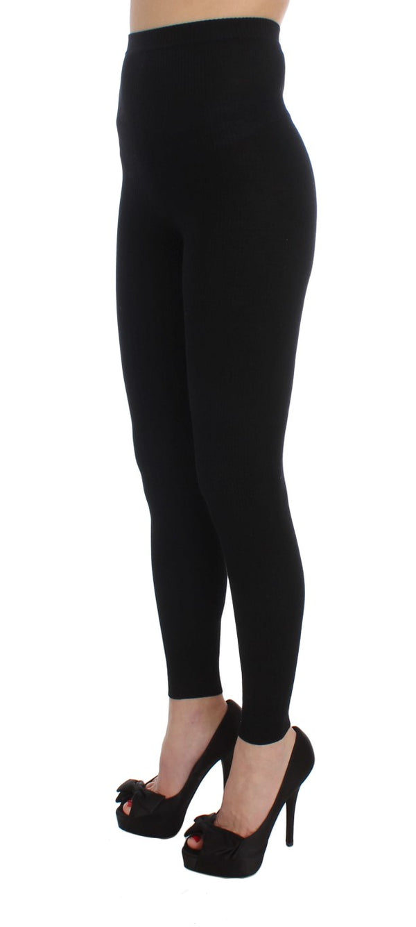 Dolce & Gabbana-Black Wool Stretch Tights Pants-Luxuryce