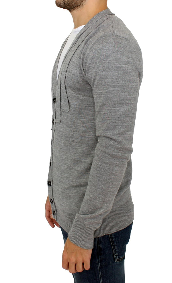 Karl Lagerfeld-Gray wool cardigan sweater-Luxuryce