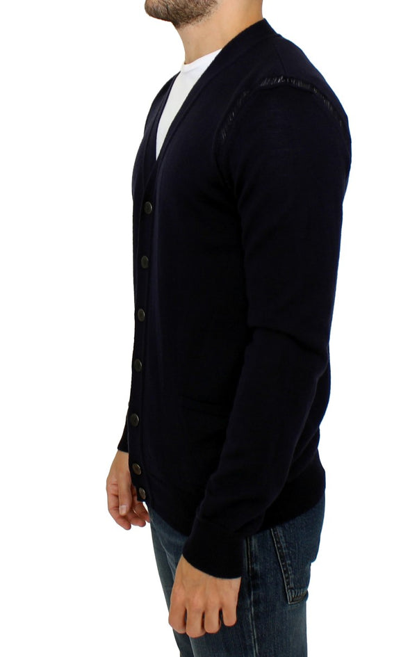 Karl Lagerfeld-Blue wool cardigan sweater-Luxuryce