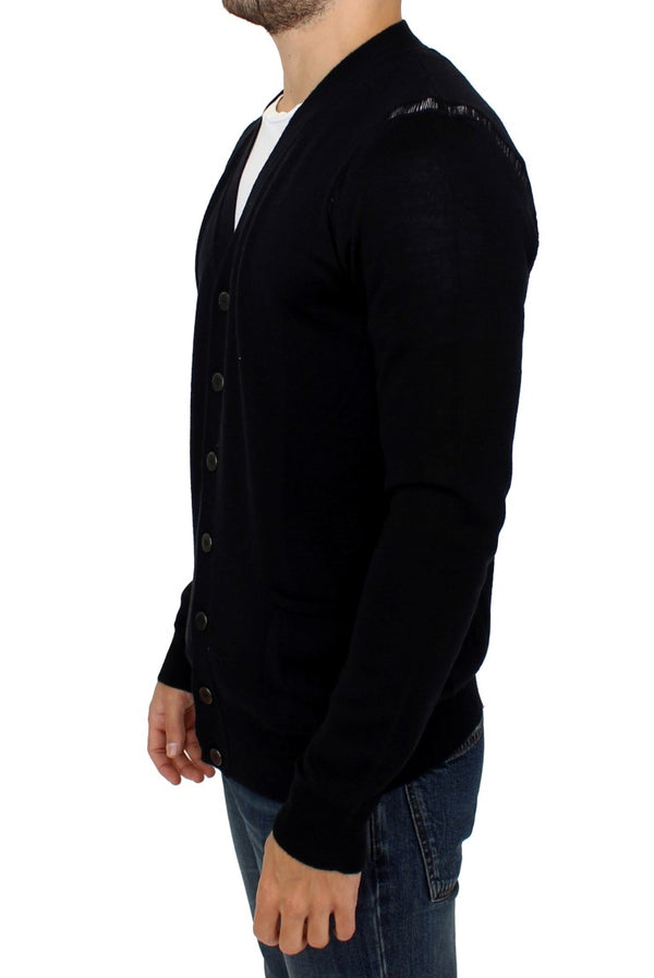 Karl Lagerfeld-Black wool cardigan sweater-Luxuryce