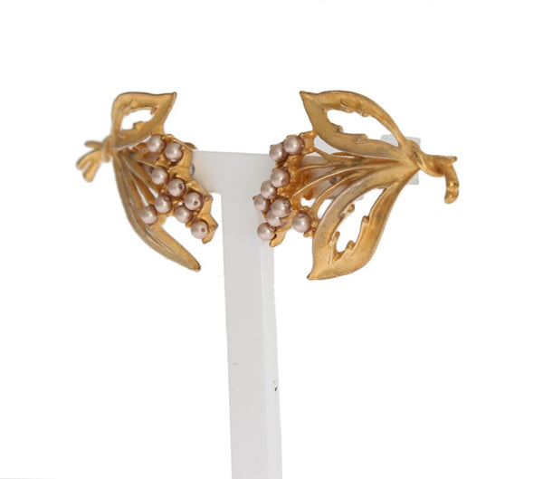 Dolce & Gabbana-Gold Floral Leaves Clip On Earrings-Luxuryce