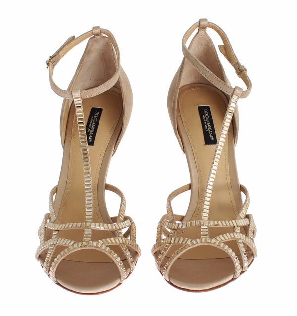 Dolce & Gabbana-Beige Suede Crystal Mary Janes Heels Shoes-Luxuryce
