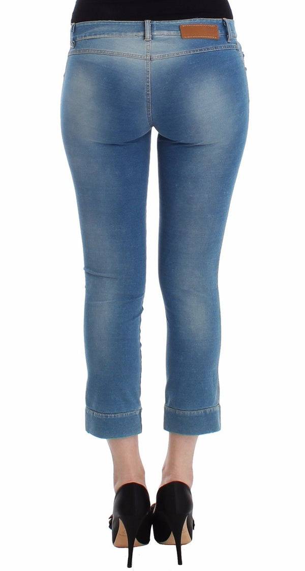 Ermanno Scervino-Beachwear Blue Jeans Capri Pants Cropped-Luxuryce