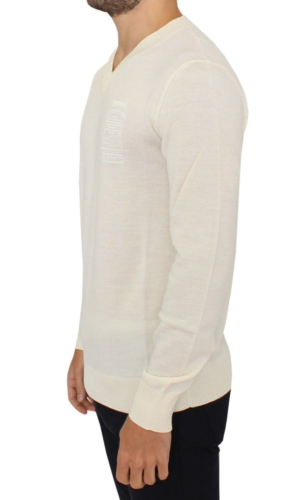 Ermanno Scervino-Off White Wool Blend V-neck Pullover Sweater-Luxuryce