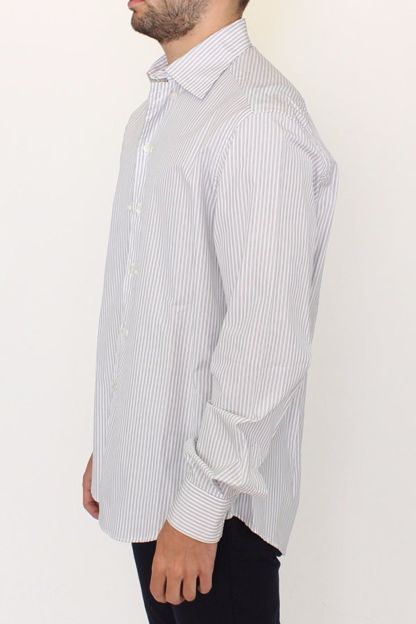 Ermanno Scervino-White Gray Striped Regular Fit Casual Shirt-Luxuryce