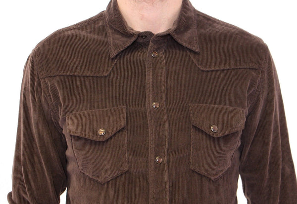 Dolce & Gabbana-Exclusive Brown Manchester Sicilia Casual Shirt-Luxuryce