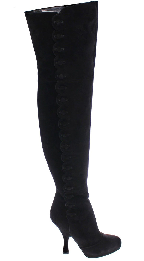 Dolce & Gabbana-Black Suede Leather Over Knee Boots-Luxuryce