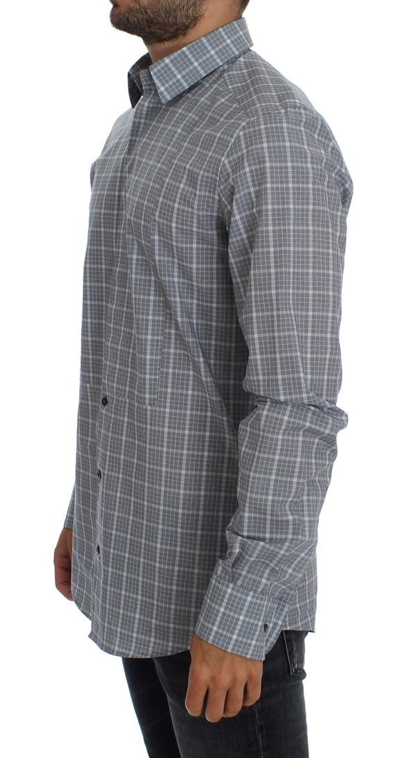 Dolce & Gabbana-Gray Checkered Slim Fit GOLD Mens Shirt-Luxuryce