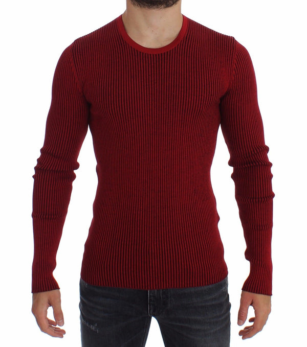 Dolce & Gabbana-Red Silk Crewneck Ribbed Sweater-Luxuryce