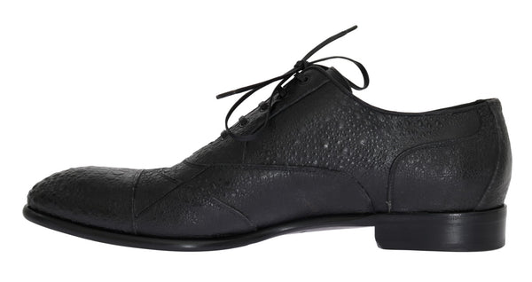 Dolce & Gabbana-Black Frog Skin Leather Derby Shoes-Luxuryce