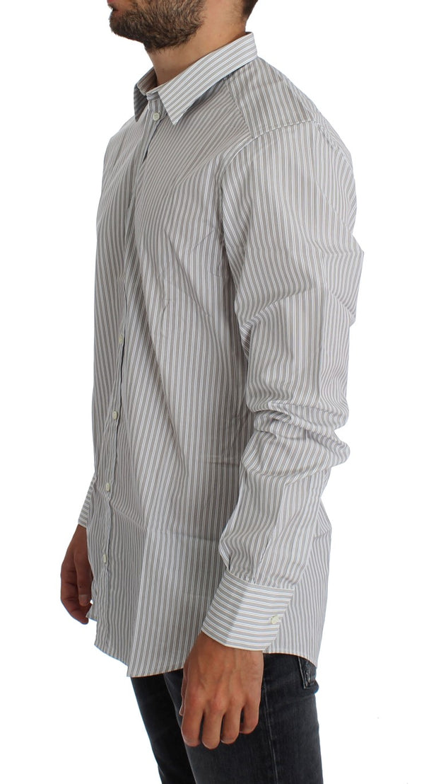 Dolce & Gabbana-White Blue Striped GOLD Slim Fit Shirt-Luxuryce