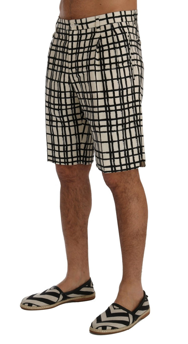 Dolce & Gabbana-White Black Striped Casual Shorts-Luxuryce