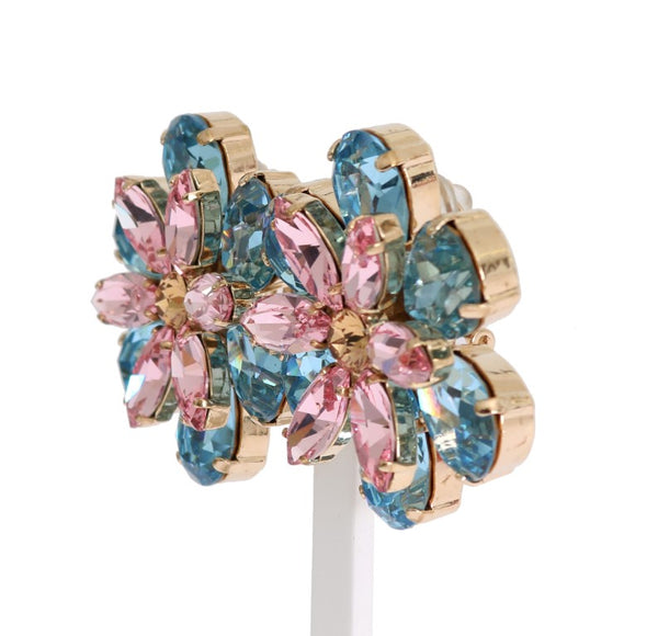 Dolce & Gabbana-Gold Brass Floral Crystal Large Clip On Earrings-Luxuryce