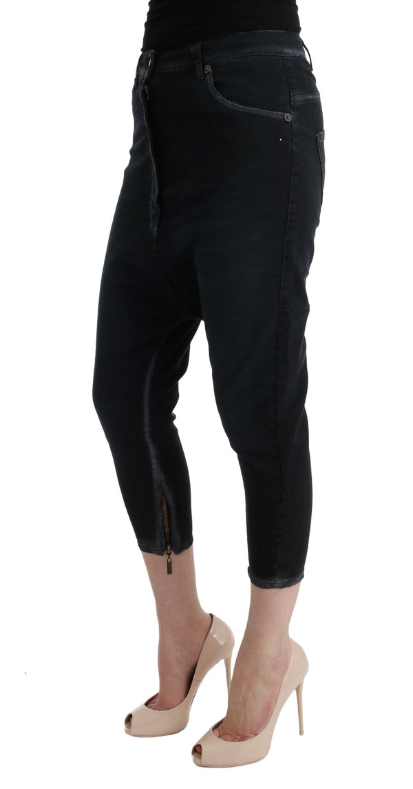 Cavalli-Black Cotton Stretch Baggy Jeans-Luxuryce