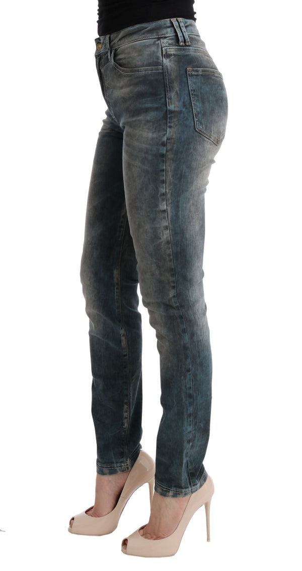Cavalli-Blue Wash Cotton Blend Slim Fit Jeans-Luxuryce