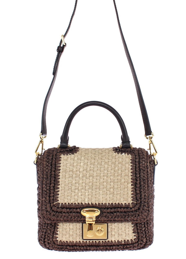 Dolce & Gabbana-Brown Raffia Leather Messenger Bag-Luxuryce