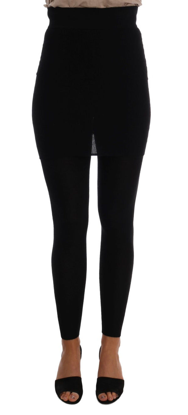 Dolce & Gabbana-Black Cashmere Silk Stretch Tights Stockings-Luxuryce