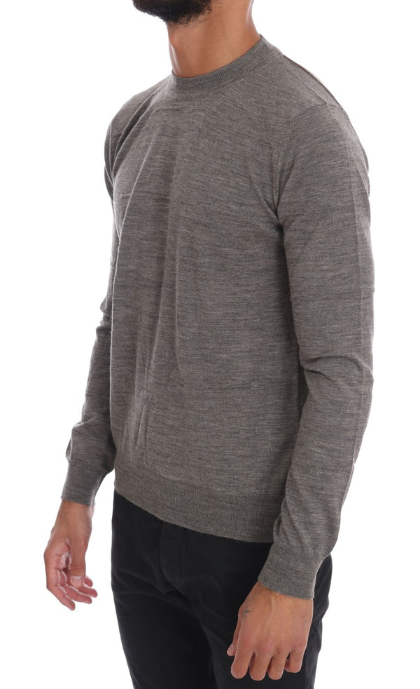 Cavalli-Gray Wool Crewneck Pullover Sweater-Luxuryce