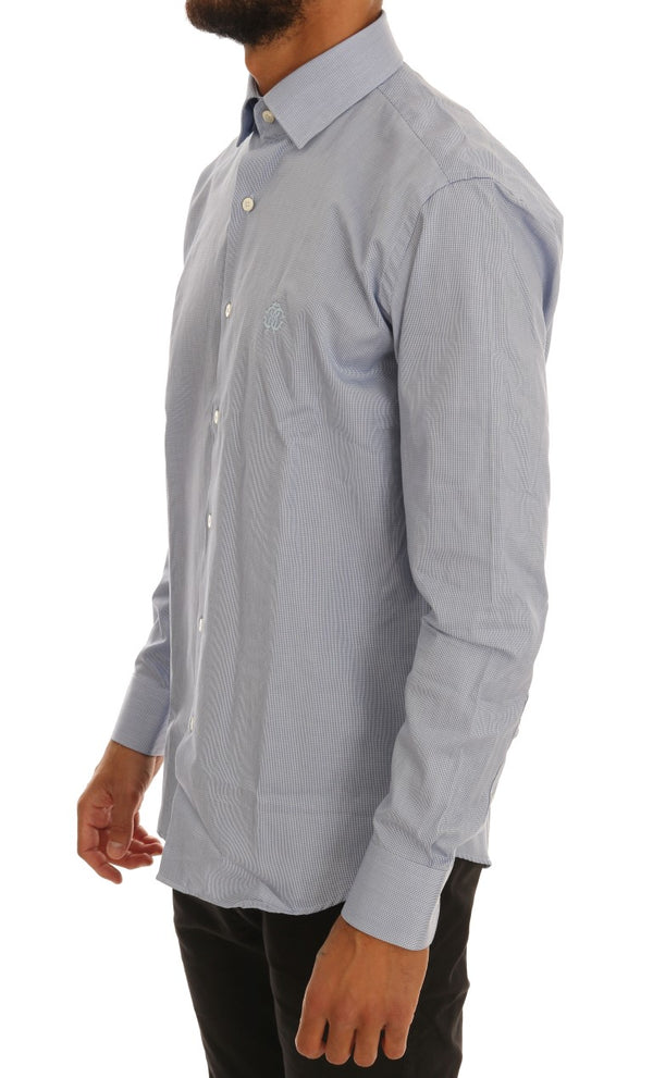 Cavalli-Blue Cotton Slim Fit Dress Shirt-Luxuryce