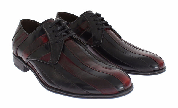 Dolce & Gabbana-Black Bordeaux Leather Dress Formal Shoes-Luxuryce