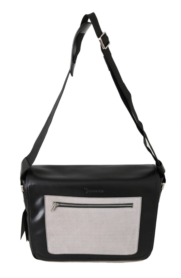 Billionaire Italian Couture-Black Gray Leather Messenger Shoulder Bag-Luxuryce