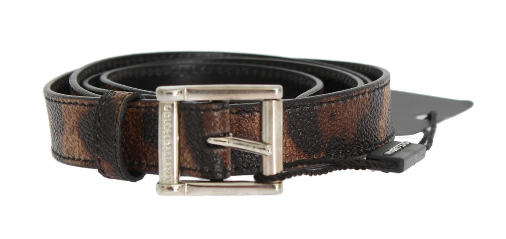 Dolce & Gabbana-Brown Leopard Silver Buckle Belt-Luxuryce