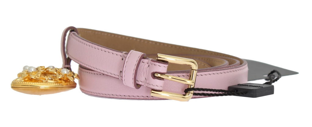Dolce & Gabbana-Pink Leather Gold Heart MAMMA Belt-Luxuryce