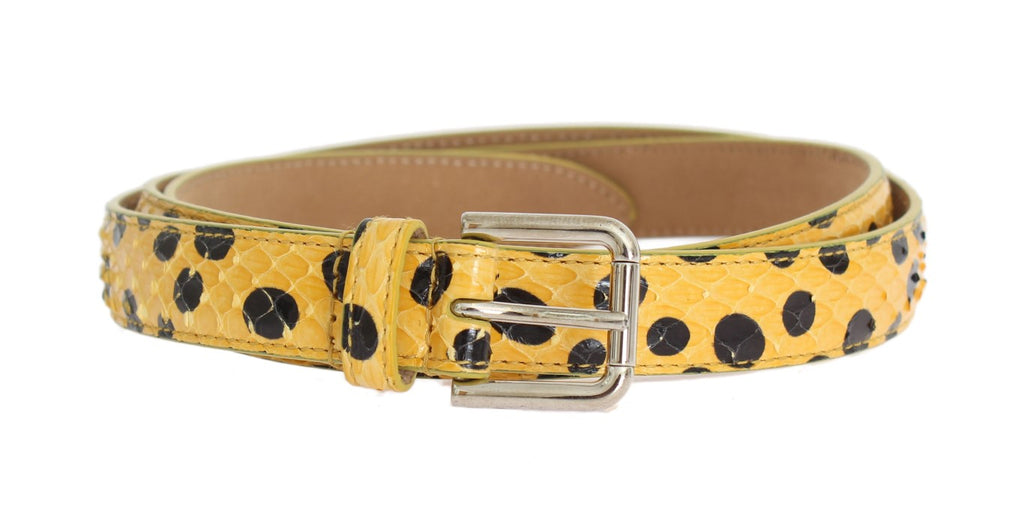 Dolce & Gabbana-Yellow Snakeskin Silver Buckle Belt-Luxuryce