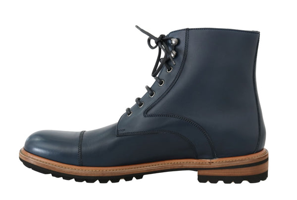 Dolce & Gabbana-Blue Leather Ankle Boots-Luxuryce