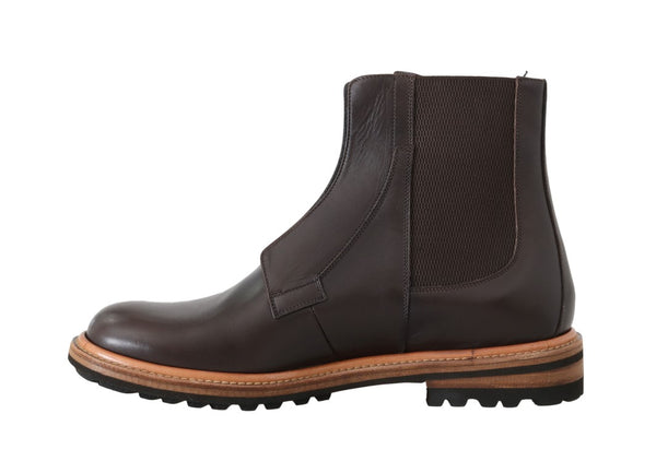 Dolce & Gabbana-Brown Leather Ankle Stretch Boots-Luxuryce