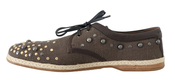 Dolce & Gabbana-Brown Linen Leather Studded Casual Shoes-Luxuryce