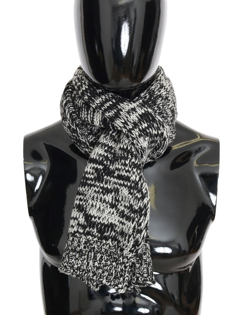 Dolce & Gabbana-Black White Wool Knitted Scarf-Luxuryce