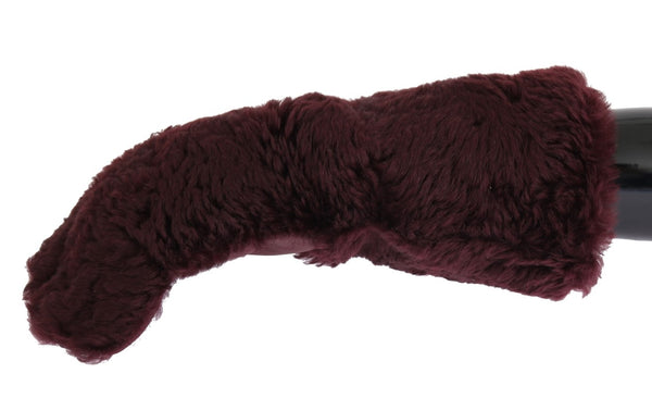 Dolce & Gabbana-Bordeaux Leather Shearling Fur Gloves-Luxuryce