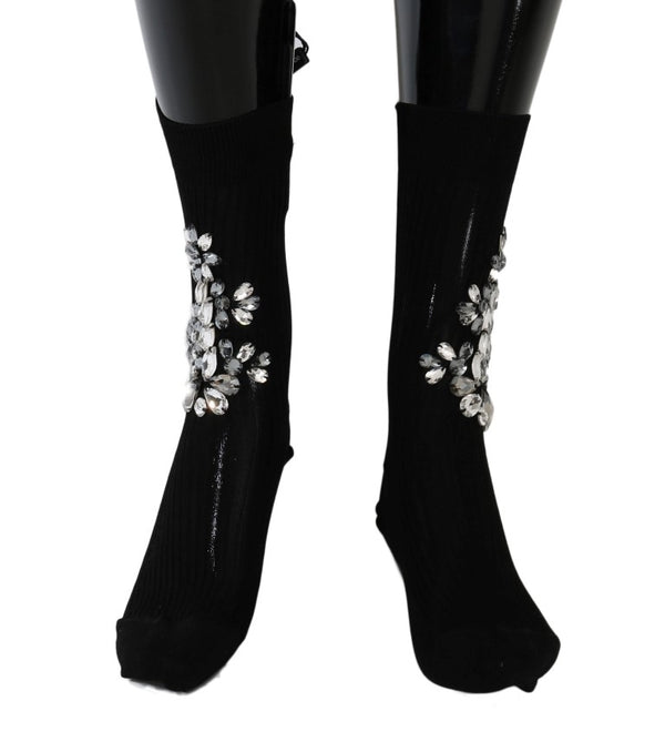 Dolce & Gabbana-Black Knitted Floral Clear Crystal Socks-Luxuryce