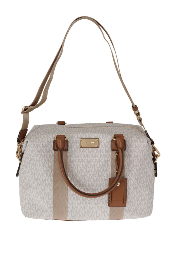 Michael Kors-White Brown TRAVEL Weekendbag-Luxuryce