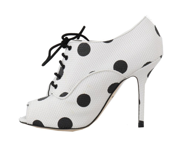 White Polka Dot Peep Toes Booties