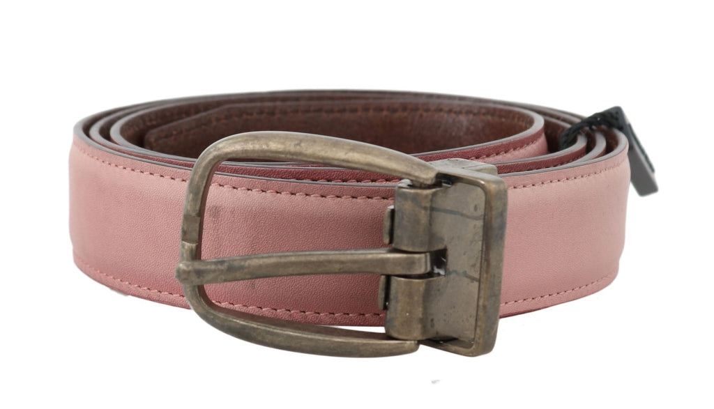 Dolce & Gabbana-Pink Shiny Leather Gold Vintage Buckle Belt-Luxuryce