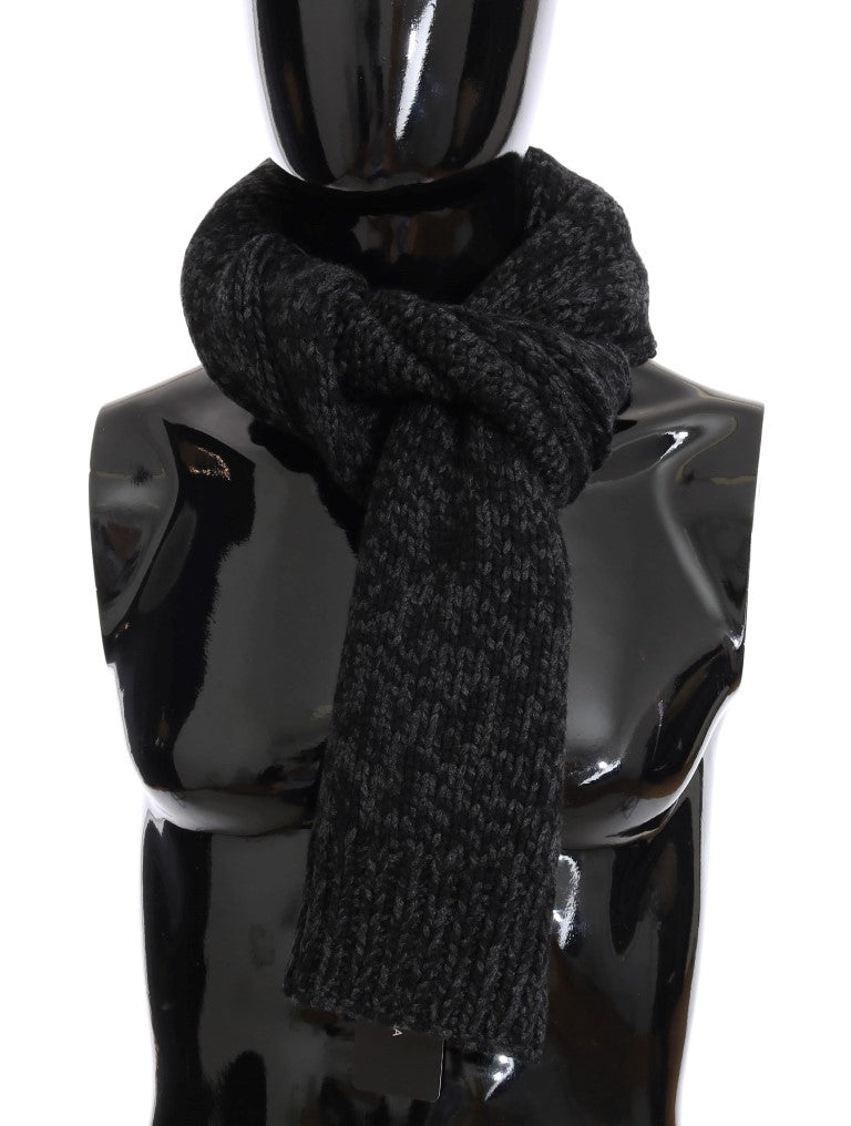 Dolce & Gabbana-Black Gray Cashmere Woven Scarf-Luxuryce