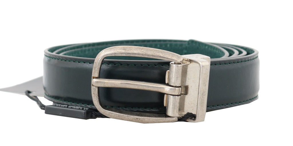 Dolce & Gabbana-Green Leather Silver Buckle Belt-Luxuryce