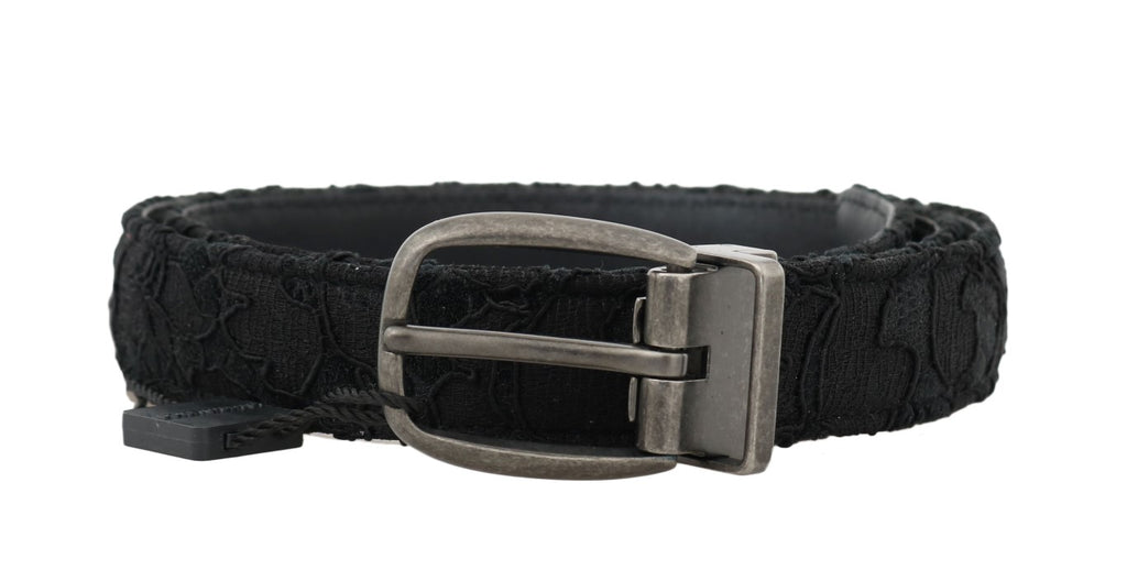 Dolce & Gabbana-Black Cotton Lace Leather Belt-Luxuryce
